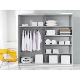 Šatní skříň Beta -černo/bílá se zrcadlem
