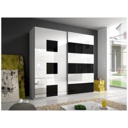 Šatní skříň Beta - bílo/černá