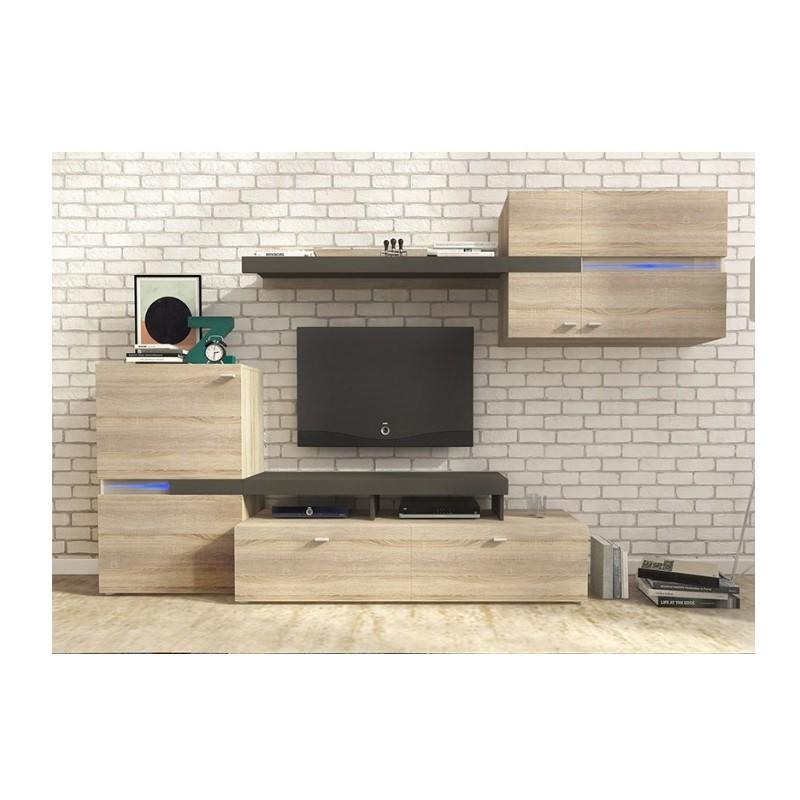 Moderní obývací stěna TEJA dub sonoma/šedý grafit